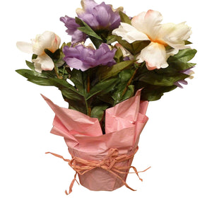 Large Mixed Coloured Peonies Artificial Potted Plant 44cm Tall With Silk Flowers In a Gift Wrapped Pot - House Office or Indoor Use