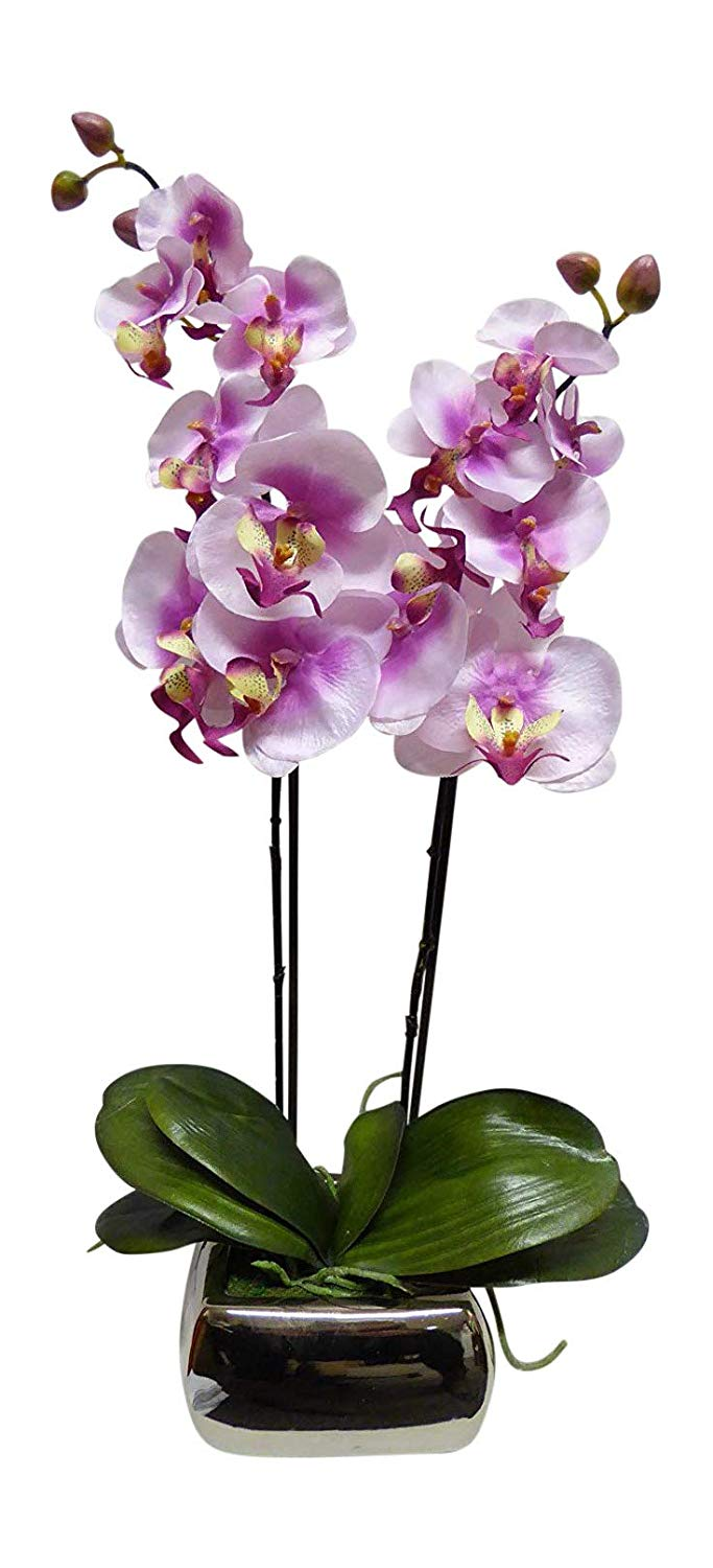 Artificial Potted Plant - 60cm Large Orchid Pink Flowers In A Silver Pot -House Office Indoor Plant