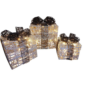 Light Up Glitter Silver Black Christmas Parcel Lights Set With LED Lights Indoor Outdoor Decoration - Battery Operated