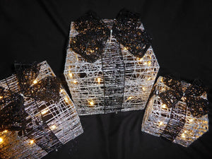 Light Up Glitter Silver Black Christmas Parcel Lights Set With LED Lights