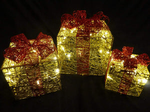 Light Up Glitter Gold and Red Christmas Parcel Lights Set With LED Lights Indoor Outdoor Decoration - Battery Operated