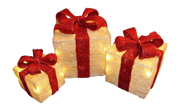 Light Up Large Cream and Red Christmas Parcel Lights Set With LED Lights Indoor Outdoor Decoration - Battery Operated