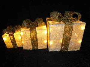 Light Up Large Cream and Gold Christmas Parcel Lights Set With LED Lights Indoor Outdoor Decoration - Battery Operated