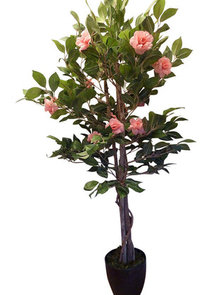 Artificial Trees - 4ft Bright Pink Rose Artificial Tree - 1.2m Large Roses Plant In A Pot - House Office or Indoor Potted Plants