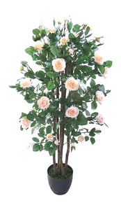 Artificial Trees - 4ft Pink Rose Artificial Tree - 1.2m Large Roses Plant In A Pot - House Office or Indoor Potted Plants