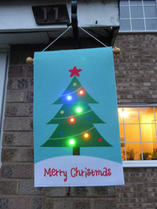 Merry Christmas Light Up Garden Flag Decoration With Flashing LED Lights