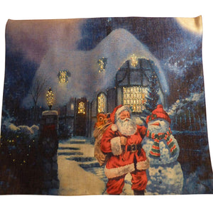 UK-Gardens Santa And Presents Large Flashing Tapestry Christmas Picture With LED Lights 60 x 40cm Indoor Decoration