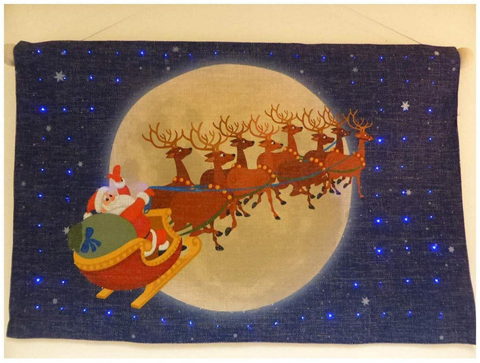 UK-Gardens Santa Sleigh Large Flashing Tapestry Christmas Picture With LED Lights 60 x 40cm Indoor Decoration