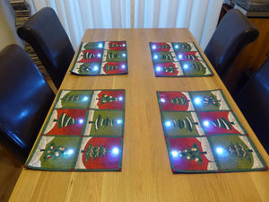 Festive Christmas Tree Flashing Table Place Mats With LED Lights
