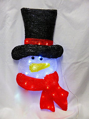 62cm Acrylic Snowman Face - 24 White LEDs - Christmas Indoor Outdoor Lights