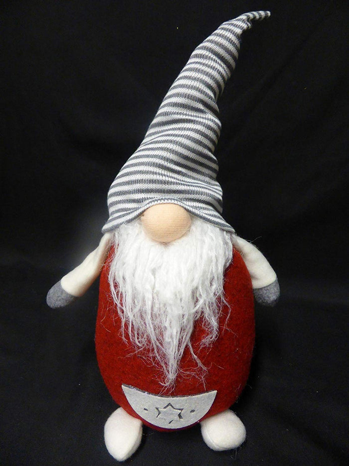 38cm Standing Christmas Gnome Grey Striped Hat Festive Xmas Ornament Decoration