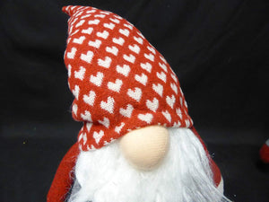 38cm Standing Christmas Gnome Heart Hat Festive Xmas Ornament Decoration