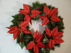 56cm Large Christmas Artificial Poinsettia Wreath With Led Lights Indoor Outdoor Decoration - Battery Operated With Timer