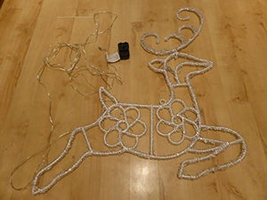 Light Up Bright White Jewelled Wall Hanging Reindeer Rope Light With LED Lights Indoor Outdoor Christmas Decoration