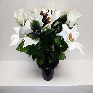 White Christmas Poinsettia Artificial Silk Flowers Arrangement Memorial Grave Pot Vase