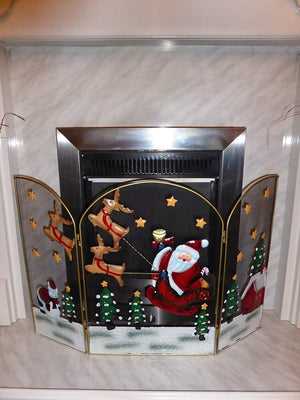 Christmas Fireguard - Large 63cm Santa and Reindeer Metal Fire Guard Decoration For Fireplace