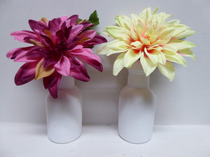 Artificial Potted Plants 23cm Large Dahlia Plant In A Pot Pink or Yellow Flowers (Pink)