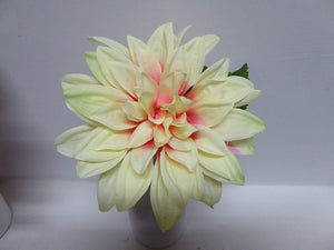 Artificial Potted Plants 23cm Large Dahlia Plant In A Pot Pink or Yellow Flowers (Yellow)