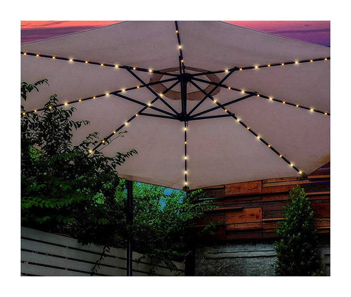 72 LED Warm White Light Chains For 8 Strut Garden Parasol Umbrella - Battery Operated Light