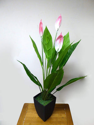 Artificial Potted Plant - 97cm Large Pink Peace Lily Plant In A Black Plastic Pot - House Office Indoor Plants