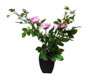 Artificial Potted Plant - 80cm Large Pink Rose Tree Bush In A Black Plastic Pot - House Office Indoor Plants