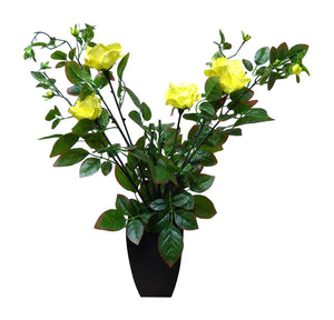 Artificial Potted Plant - 80cm Large Yellow Rose Tree Bush In A Black Plastic Pot - House Office Indoor Plants