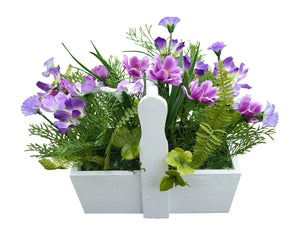Artificial Potted Plant - 28cm Purple Cottage Cosmos Flowers In A White Wooden Trough - House Office Indoor Plants