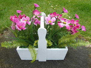 Artificial Potted Plant - 28cm Pink Cottage Cosmos Flowers In A White Wooden Trough - House Office Indoor Plants