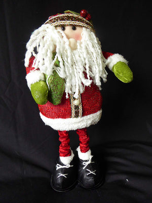 UK-Gardens Large Soft Fabric Santa Claus - Flexible Novelty Christmas Decoration With Adjustable Height