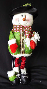 UK-Gardens Large Soft Fabric Snowman - Flexible Novelty Christmas Decoration With Adjustable Height