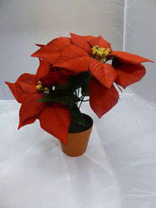 Red Poinsettia In A Pot - Artificial Potted Christmas Poinsettia Plant Xmas Gift