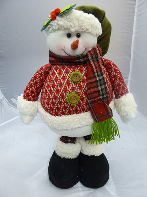 Large Tall Flexible Plush Soft Toy Snowman Figure With Adjustable Leg Height - Christmas Decoration