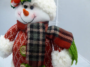 UK-Gardens 40cm Standing Christmas Snowman Figure - Plush Soft Fabric Xmas Decorations With Wooden Legs