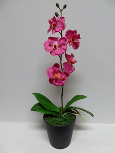 40cm Artificial Pink Orchid Flower In A Pot - Artificial Potted Plants
