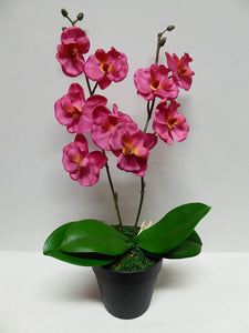 40cm Artificial Pink or White Orchid Flower In A Pot - Artificial Potted Plants (Pink)