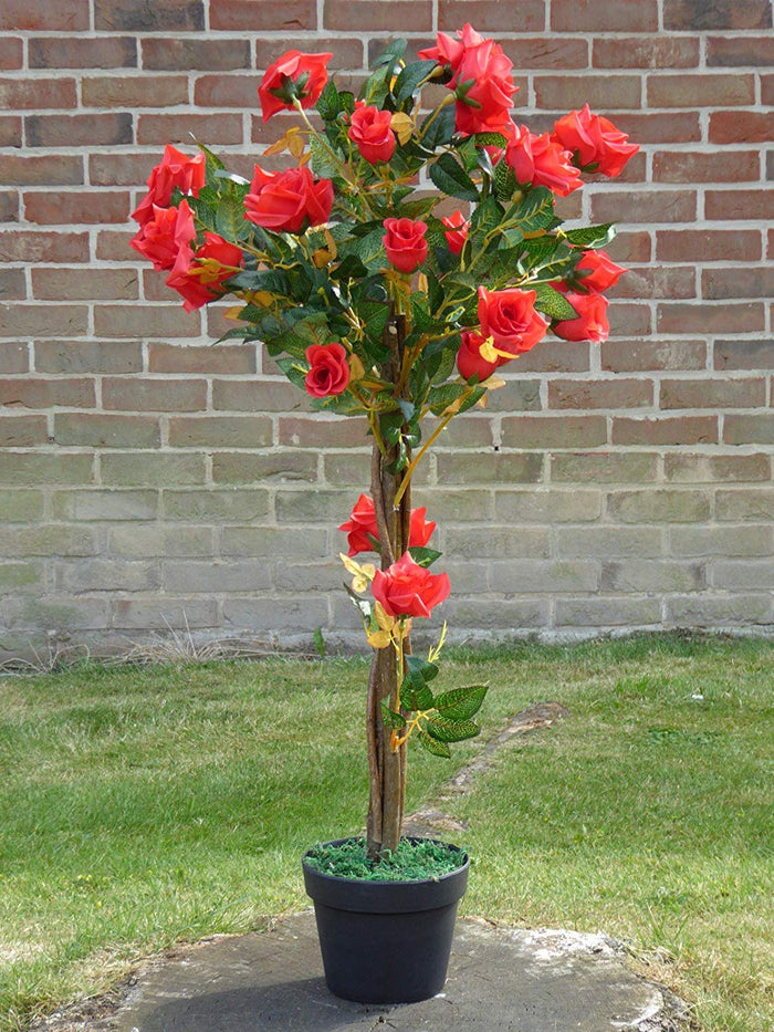 UK-Gardens 1M 3ft Artificial Rose Tree In A Pot - Artificial Potted Trees Plants Roses (Cerise Pink)