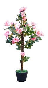UK-Gardens 1M 3ft Artificial Rose Tree In A Pot - Artificial Potted Trees Plants Roses (Pale Pink)