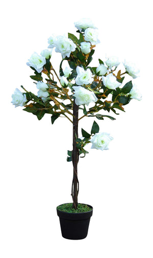 UK_Gardens 1M 3ft Artificial Rose Tree In A Pot - Artificial Potted Trees Plants Roses (White)
