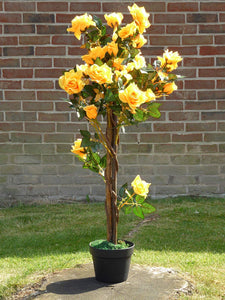 UK-Gardens 1M 3ft Artificial Rose Tree In A Pot - Artificial Potted Trees Plants Roses (Yellowy Orange)