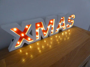 60 x 15cm Wooden XMAS Sign 26 Warm White LED Lights Christmas Decoration