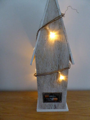 43cm Battery Operated Lit Wooden Bird House - Indoor Use as a Home Fireplace or Table Decoration