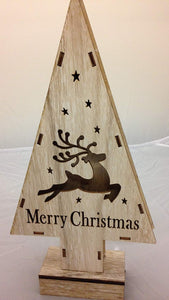 30cm Battery Operated Wooden Lit Reindeer Tree with Timer - Indoor Use as a Home Fireplace or Table Decoration
