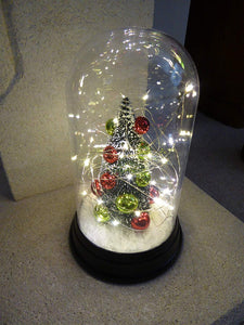 24cm Battery Operated LED Lit Perspex Tree With Baubles Dome - Indoor Use as a Home Fireplace or Table Decoration