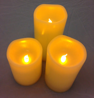 Flickering Candle - Battery Operated Outdoor Candles With Timer - Set of Three
