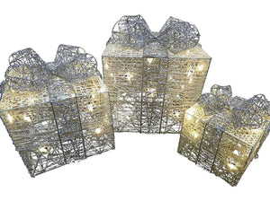 Large Glitter White And Silver Light Up Christmas Parcels Set With LED Lights Indoor Outdoor Decorations - Battery Operated