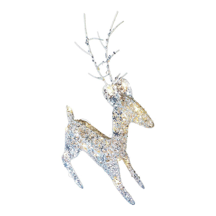 Light Up 60cm 2ft Pre Lit Glitter Silver Christmas Reindeer Figure Ornament With Warm White LED Lights Battery Operated