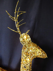 Light Up 60cm 2ft Glitter Gold Christmas Reindeer Figure Ornament Warm White LED Lights - Battery Operated Indoor Outdoor Christmas Decoration