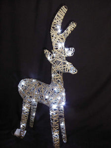 Light Up 90cm 3ft Pre Lit Rustic Grey Reindeer Figure Ornament Bright White LED Lights Battery Operated Indoor Outdoor Christmas Decoration