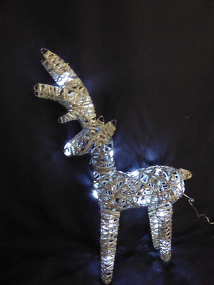 Light Up 60cm 2ft Pre Lit Rustic Grey Reindeer Figure Ornament Bright White LED Lights Battery Operated Indoor Outdoor Christmas Decoration
