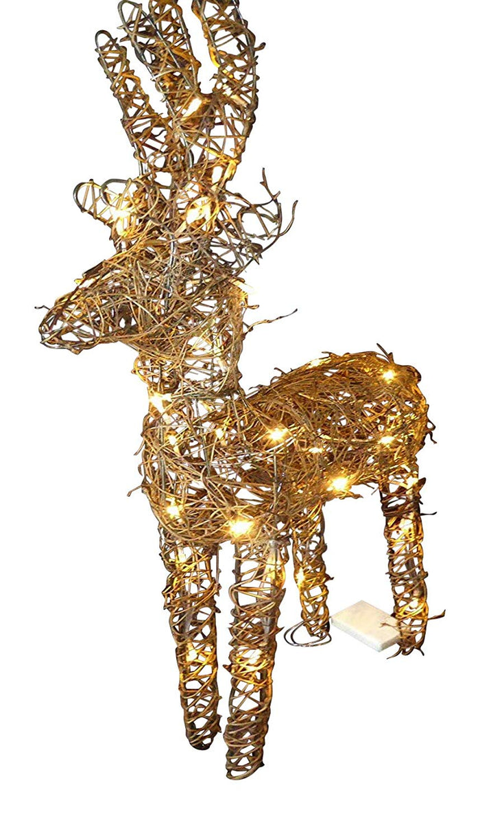 Large Light Up 90cm 3ft Pre Lit Rustic Brown Reindeer Figure Ornament Warm White LED Lights Battery Operated Indoor Outdoor Christmas Decoration